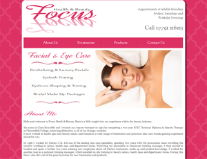 Focus Beauty website link and screenshot