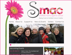 Sheffield Mums Against Cancer Web Link and Screen Shot